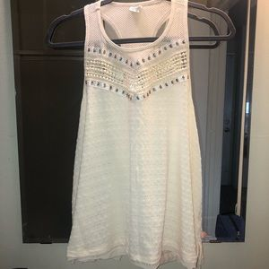 Paper Crane cream patterned/beaded tank top